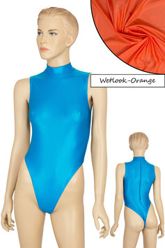 Damen Wetlook Stringbody ohne Ärmel Kragen Rücken-RV orange