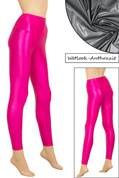 Damen Wetlook High-Waist Leggings anthrazit