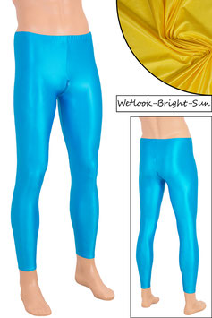 Herren Wetlook Leggings mit Schritt-RV bright-sun