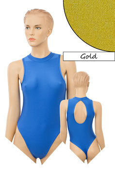 Damen Stringbody ovaler Rückenausschnitt Kragen Druckverschluss gold