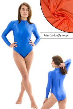 Damen Wetlook Body lange Ärmel RRV orange