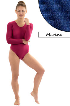 Damen Body Druckverschluss lange Ärmel Rundhals marine