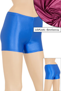 Damen Wetlook Hotpant bordeaux
