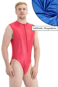 Herren Wetlook Body ohne Ärmel Front-RV royalblau