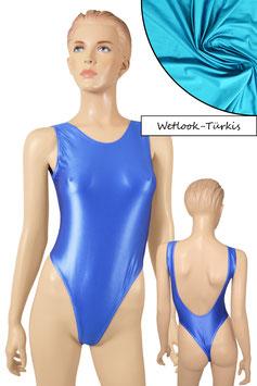 Damen Wetlook Stringbody ohne Ärmel tiefer Rückenausschnitt türkis
