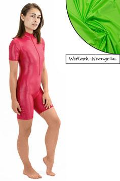 Damen Wetlook Ganzanzug kurze Ärmel und Beine FRV neongrün