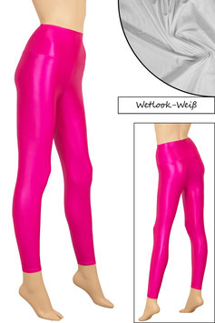 Damen Wetlook High-Waist Leggings weiß