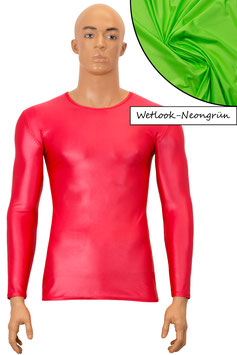 Herren Wetlook T-Shirt lange Ärmel neongrün