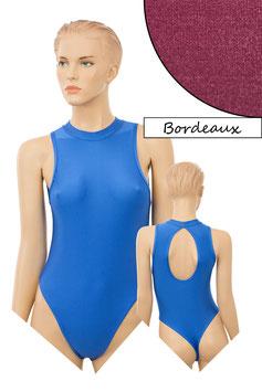 Damen Stringbody ovaler Rückenausschnitt Kragen Druckverschluss bordeaux
