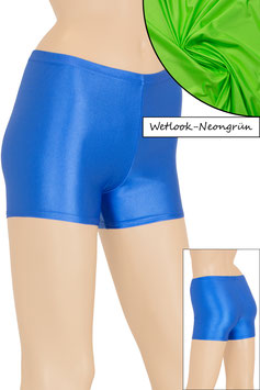 Damen Wetlook Hotpant neongrün