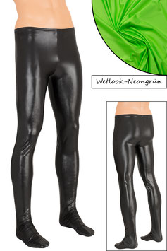 Herren Wetlook Leggings mit Fuss neongrün