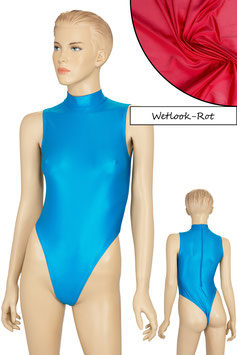 Damen Wetlook Stringbody ohne Ärmel Kragen Rücken-RV rot