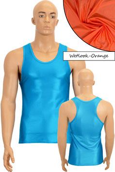 Herren Wetlook Boxerhemd Slim Fit orange