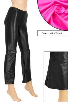 Damen Wetlook Jazzpant pink