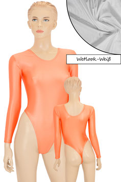 Damen Wetlook Stringbody lange Ärmel weiß