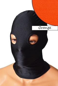Kopfhaube (Maske) orange, mit Löchern für Augen