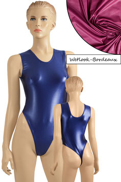 Damen Wetlook Stringbody ohne Ärmel bordeaux
