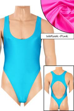 Herren Wetlook Stringbody Boxerschnitt und freier Rücken pink