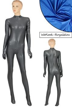 Damen Wetlook Ganzanzug RRV+SRV+Hand+Fuß royalblau