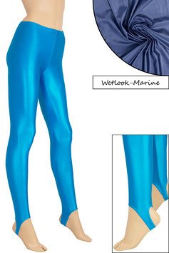 Damen Wetlook Leggings mit Schritt-RV marine