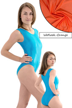 Damen Wetlook Body ohne Ärmel orange