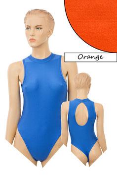 Damen Stringbody ovaler Rückenausschnitt Kragen Druckverschluss orange