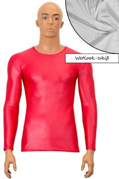 Herren Wetlook T-Shirt lange Ärmel Slim Fit weiß