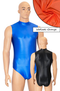 Herren Wetlook Body ohne Ärmel Rücken-RV orange