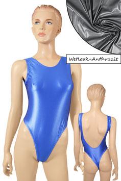 Damen Wetlook Stringbody ohne Ärmel tiefer Rückenausschnitt anthrazit