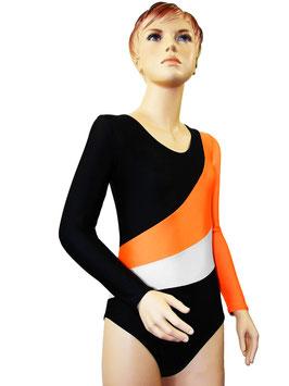 """Kinder Gymnastikanzug """"Diana"""" schwarz-orange-weiß"""