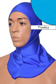 Kopfhaube offen türkis