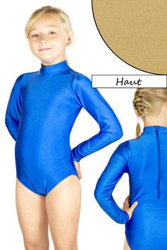 Kinder Gymnastikanzug lange Ärmel Kragen Rücken-RV haut