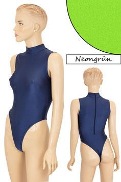 Damen Stringbody RRV+Kragen ohne Ärmel neongrün