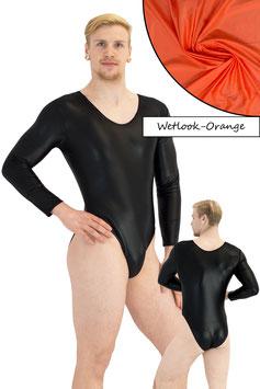 Herren Wetlook Body lange Ärmel orange