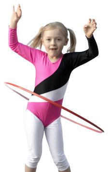 """Kinder Gymnastikanzug """"Diana"""" pink-schwarz-weiß"""