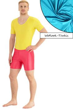 Herren Wetlook Hotpant türkis