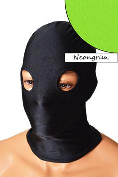 Kopfhaube (Maske) neongrün, mit Löchern für Augen