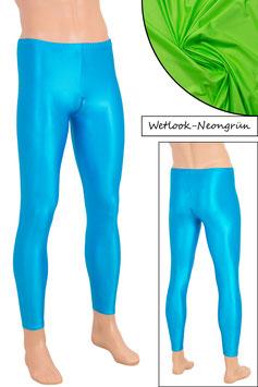 Herren Wetlook Leggings mit Schritt-RV neongrün