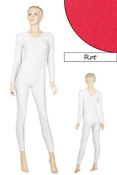Damen Ganzanzug lange Ärmel Rundhals rot