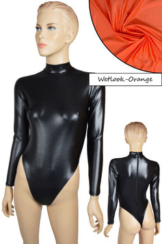 Damen Wetlook Stringbody lange Ärmel RRV orange