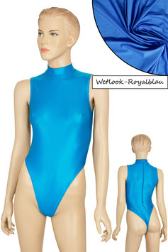 Damen Wetlook Stringbody ohne Ärmel Kragen Rücken-RV royalblau