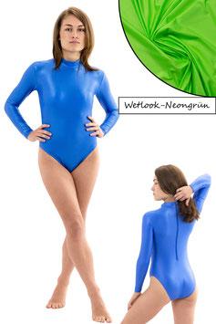 Damen Wetlook Body lange Ärmel RRV neongrün