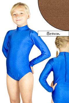 Kinder Gymnastikanzug lange Ärmel Kragen Rücken-RV braun