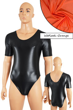 Herren Wetlook Body kurze Ärmel orange