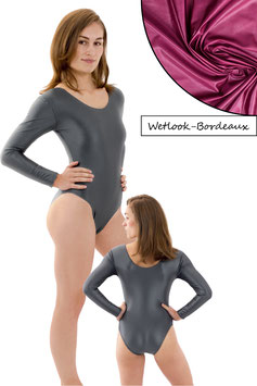 Damen Wetlook Body lange Ärmel Bordeaux