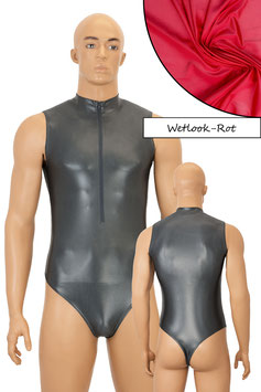 Herren Wetlook Stringbody ohne Ärmel FRV rot