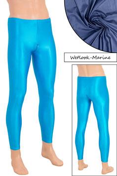 Herren Wetlook Leggings mit Schritt-RV marine