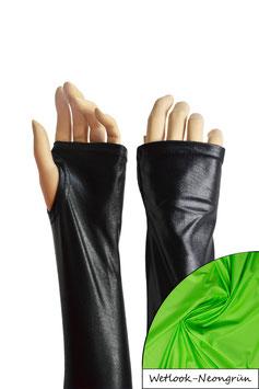 Wetlook fingerlose Handschuhe mit Daumenloch neongrün