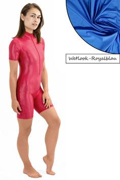 Damen Wetlook Ganzanzug kurze Ärmel und Beine FRV royalblau