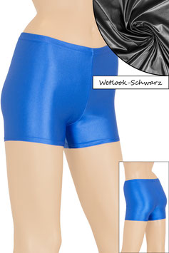 Damen Wetlook Hotpant schwarz